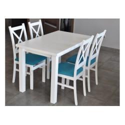 Zestaw do jadalni: stół LARGO BIAŁY LAMINAT + 4 krzesła SKANDI