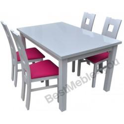 Zestaw: białe krzesła WINDOW + stół biały wysoki połysk 80x140 CM