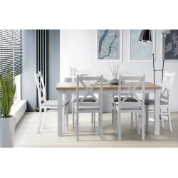 Zestaw w stylu skandynawskim: stół LAMARENTO I 80x150-190 + 6x krzesło SKANDI