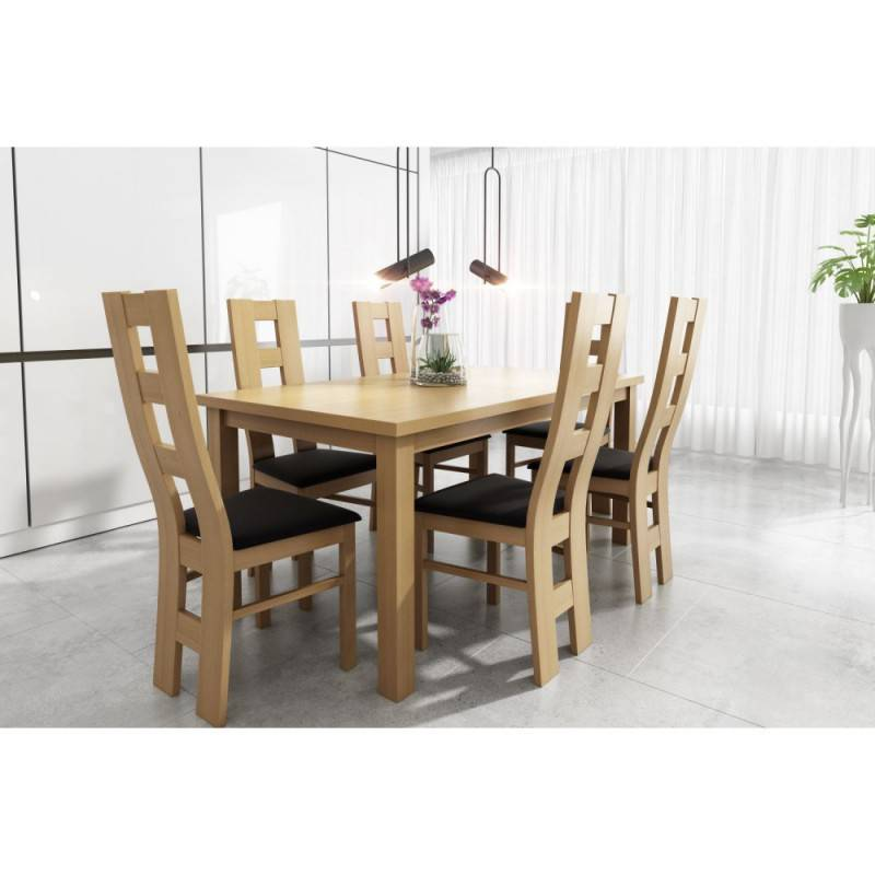 Zestaw 6-osobowy: krzesła WINDOW + STÓŁ largo (rozmiary)