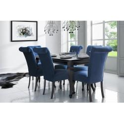 Zestaw w kolorze czarnym: Stół MERSO LK + 6x  krzesła MERSO 56 pikowane kryształki