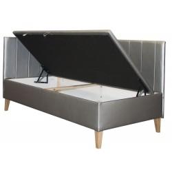 INTARO 9 Pojedyncze łóżko tapicerowane z zagłowiem i osłoną boczną oraz pojemnikiem 100x200
