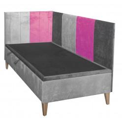 INTARO 9 MIX Pojedyncze łóżko tapicerowane 90x200 z zagłowiem i osłoną boczną oraz pojemnikiem