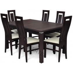 Zestaw: 6 krzeseł RAMZES + stół LARGO 90x160+40 cm