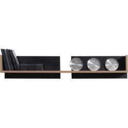 MONSUN 13 Półka wisząca (biel, czarny +orzech)
