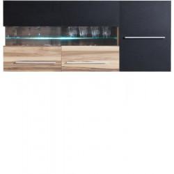 MONSUN 10  Szafka LED wisząca (biel, czarny +orzech)