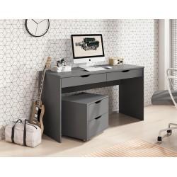 TIMI Proste biurko z szufladami i kontenerkiem 138 cm, grafit