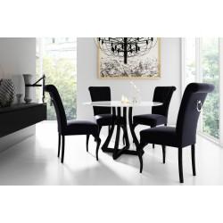 Zestaw: MERSO ORN stół okrągły biały połysk (czarna podstawa) 90 cm + 4x krzesło MERSO S63 + KOŁATKA