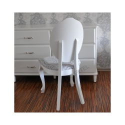 Eleganckie krzesło białe SONIA w stylu ludwikowskim