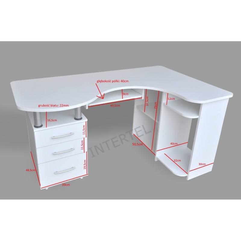 BIAŁE Duże biurko narożne MAKSYM